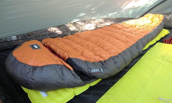 REI Sub Kilo +20 Sleeping Bag in a Tent