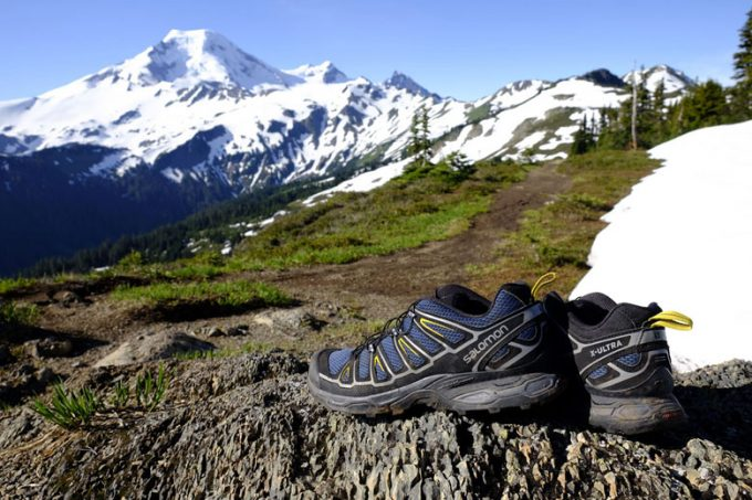 Image showing a pair of Salomon X Ultra 2 hiking shoes and a mountain landscape