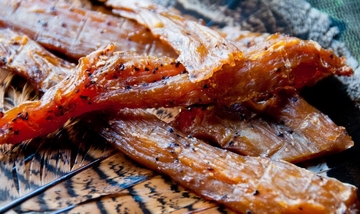 Close-up photo of homemade Turkey Jerky