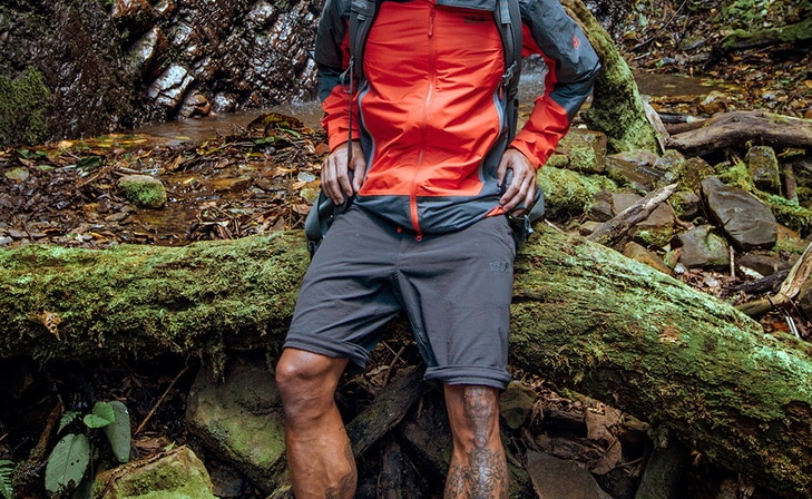 A man wearing a pair of shorts on a valdivian-temperate-rain-forest