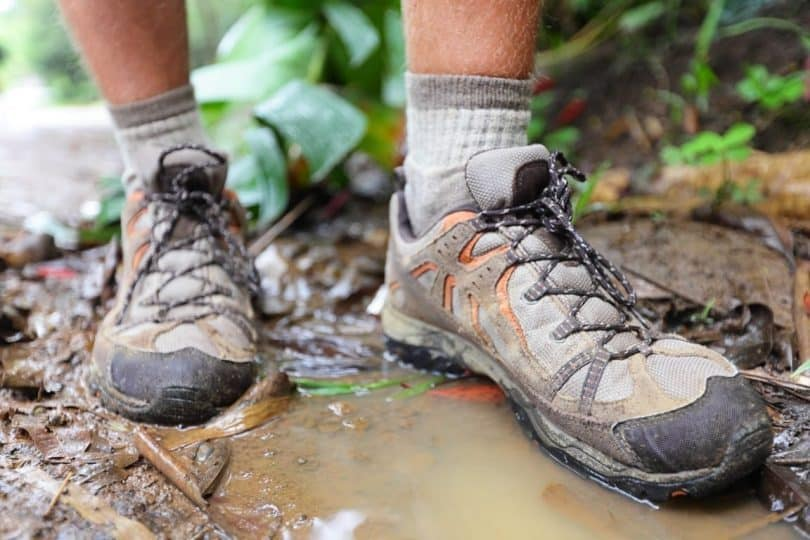 hiking-shoes-in water