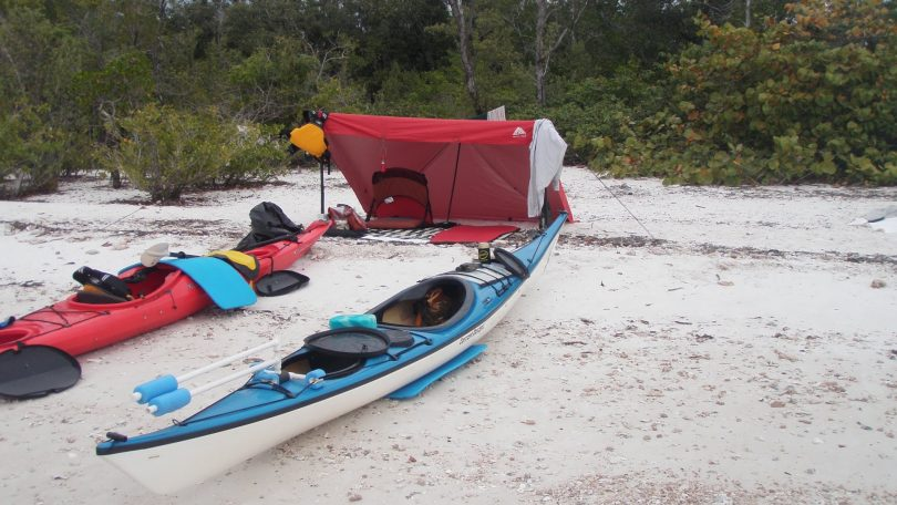 Picture of two canoes while kayak camping