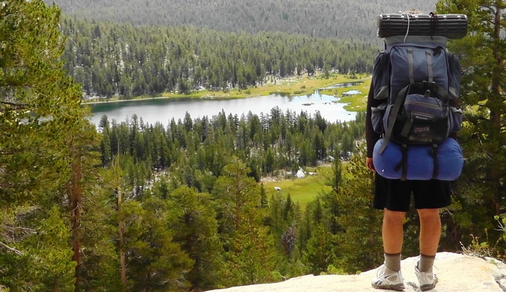 Wilderness backpacking picturesque view