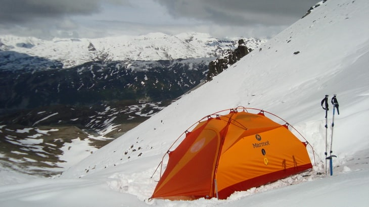 Winter Camping in Marmot Tent