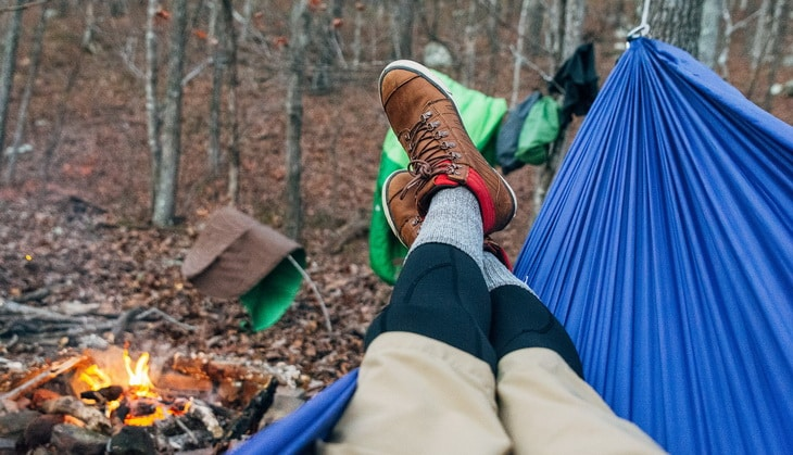 Man resting in a hammock