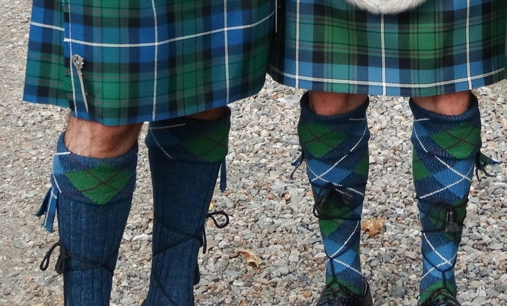 Two mens wearing the artan-kilt-hose-right-and-tartan-cuff-hose-left
