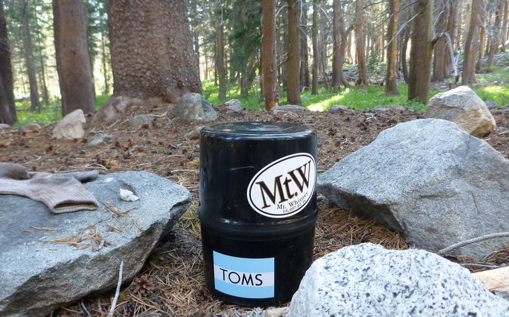 bear canister for animal-proofing campsite