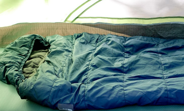 camping sleeping bag in a tent