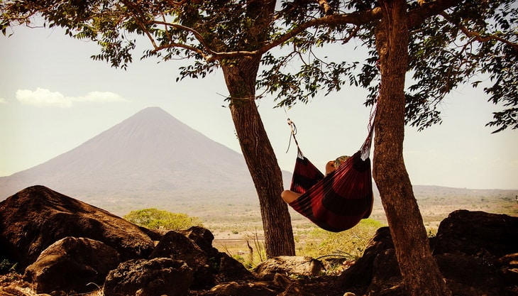 Person chilling in a hammock