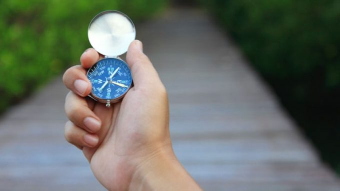 Image of a little compass in a person's hand