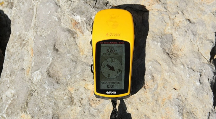 Garmin GPS on a rock