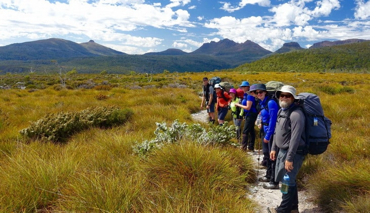 group of hikers on Overland Track trail