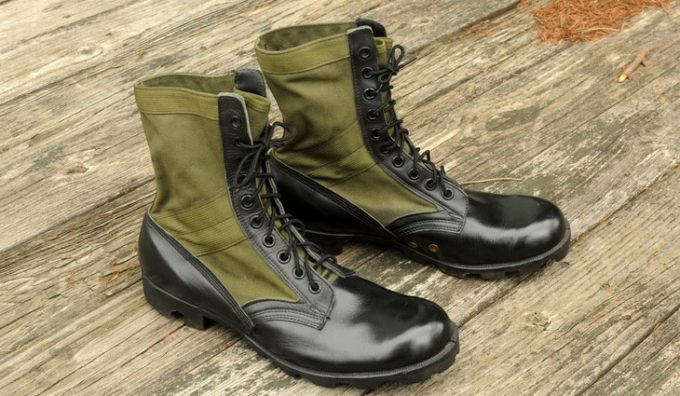 Image showing a pair of leather jungle boots on the floor