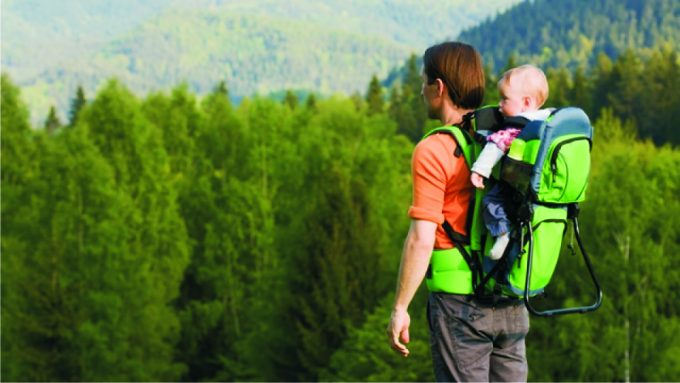 man-carrying-baby-while-hiking