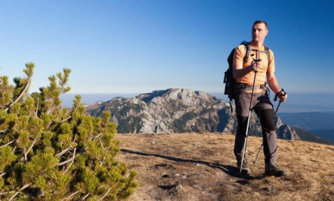 man hiking in quick dry pants
