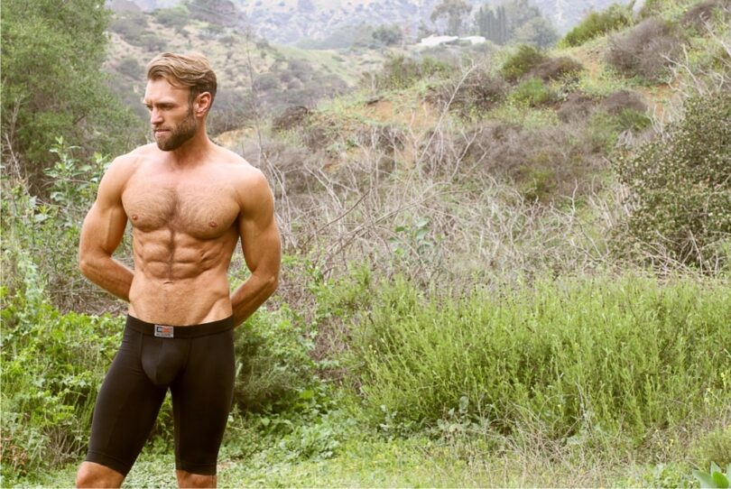 man in hiking underwear