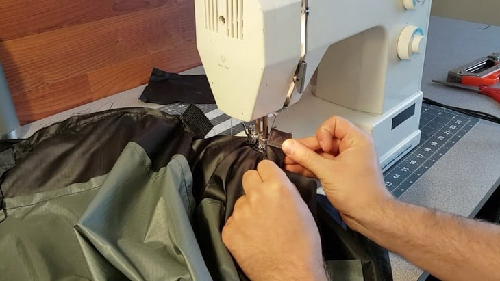 Sewing a backpack with a machine