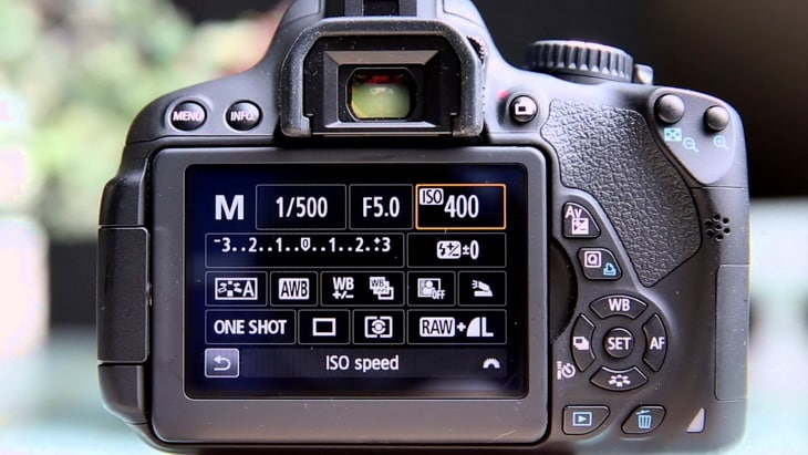 Close-up photo of exposure settings on a camera