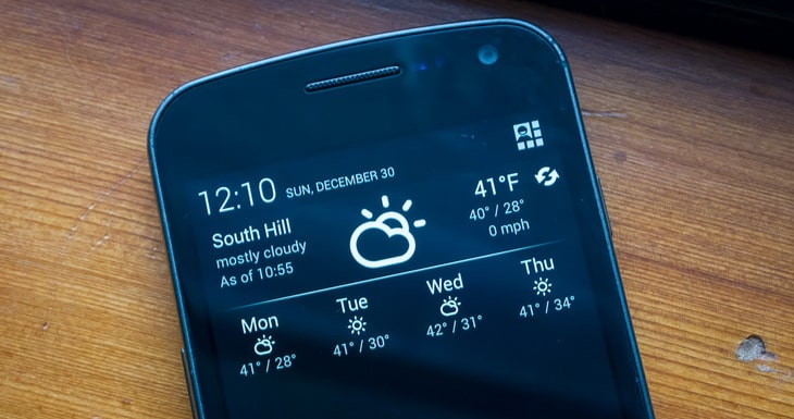weather forecast on a smartphone