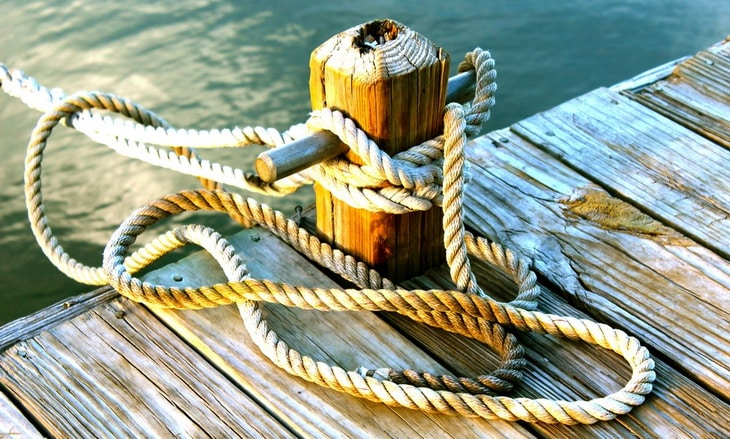 Rope tied on a boat deck