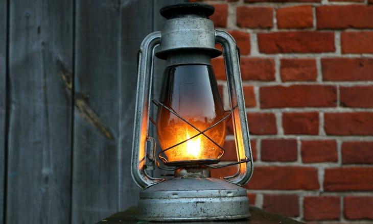 liquid fuel lantern on the table