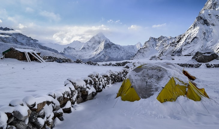 Winter camping in mountains
