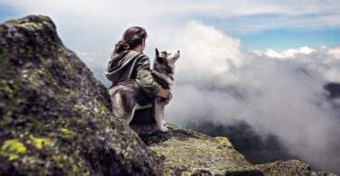 A hiker and his best friend, a siberian husky