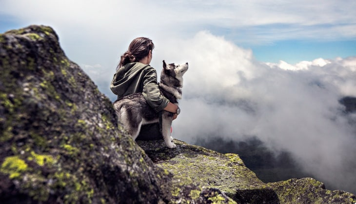 A hiker and his best friend, a siberian husky