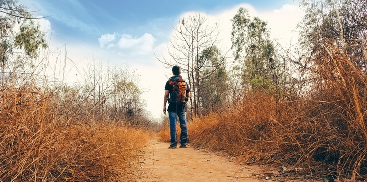 Person in Black Shirt and Blue Denim Jeans Wearing Orange Black Hiking Bag Standing on Hiking Trail during Daytime