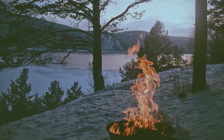 Bonfire on Grey Sand Near Trees