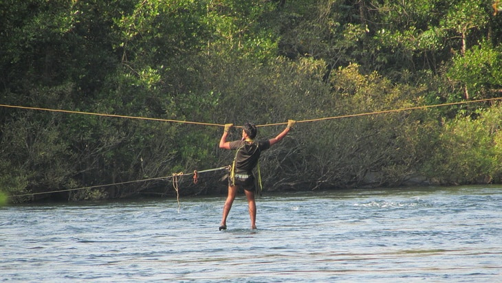 A man crossing Kali river
