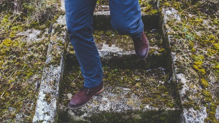 man, person, walking Man walking down the old stone staircase