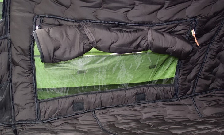 Inside of a thermal insulated tent