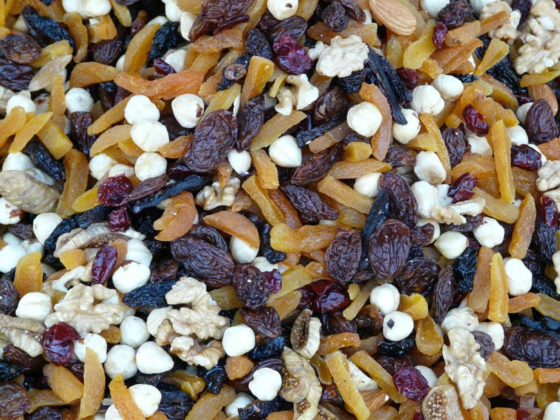 Healthy trail-mix of fruits and peanuts