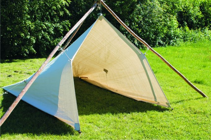 wooden poles frame tarp tent