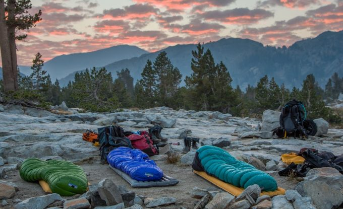 sleeping bags in nature