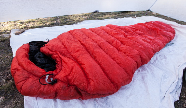 Outdoor Vitals Sleeping Bag on the ground