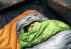 Woman sleeping in a Nemo sleeping bag in the nature