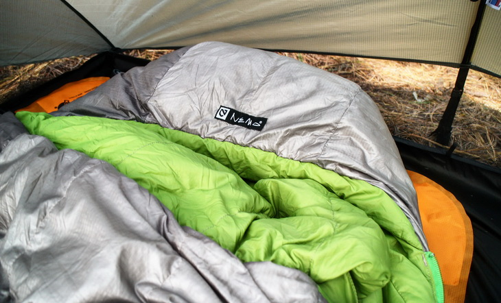 Close-up of a Nemo sleeping bag in a tent