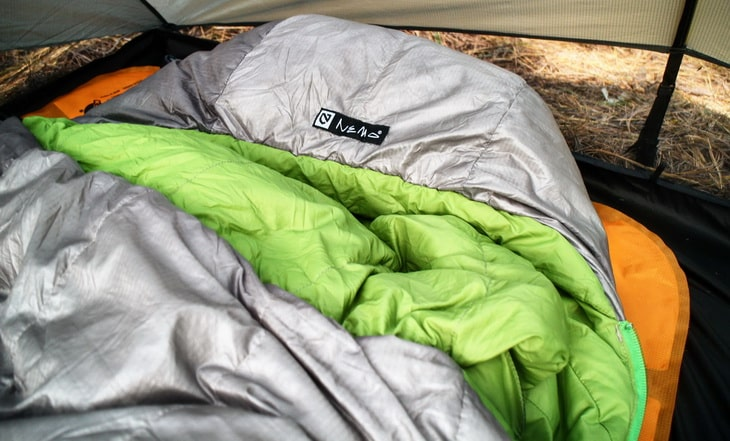 Picture of a Nemo sleeping bag in a tent