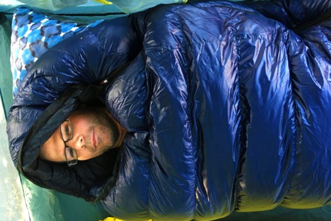 guy inside a sleeping bag
