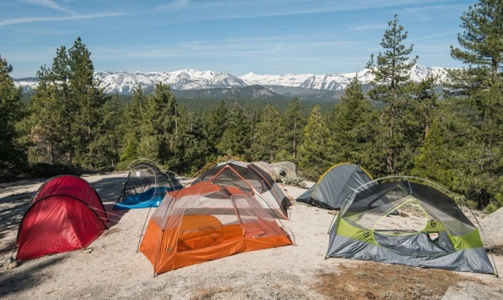 Backpacking tent on top of the mountains