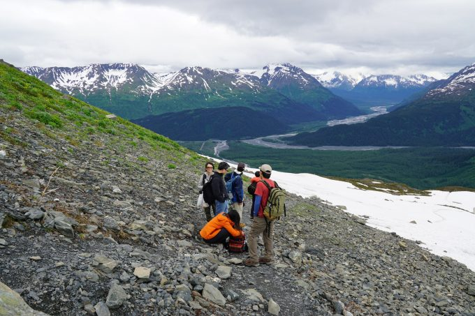 hikers on harding icefield trail top