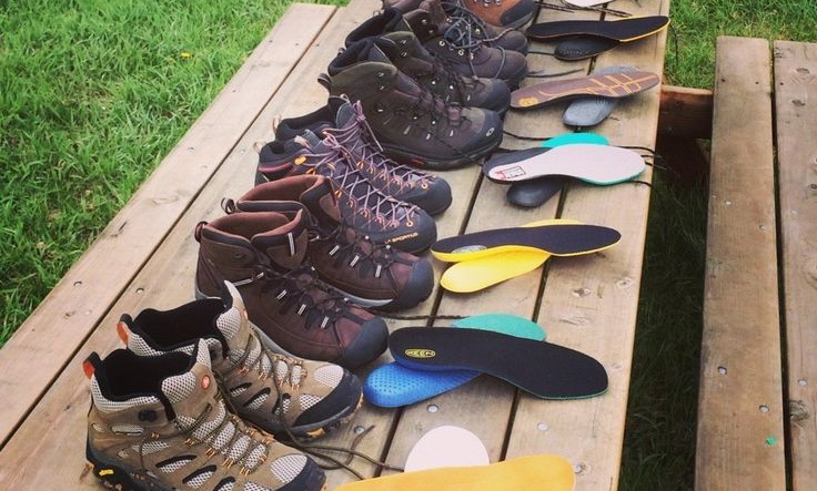 Drying hiking boots in the sun
