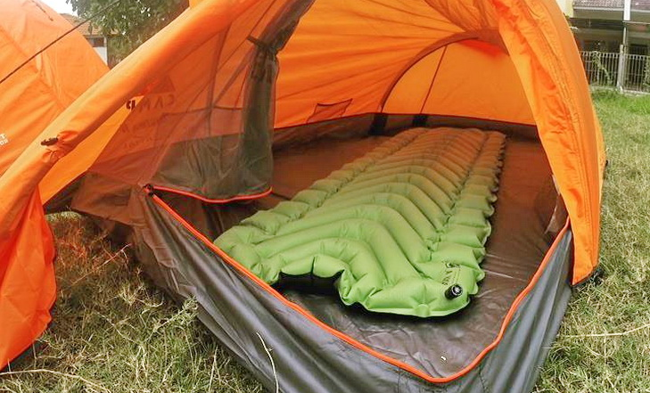 Klymit Static V2 Inflatable Sleeping Pad in a tent