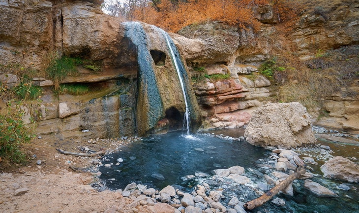 Image of a romantic natural hot spring