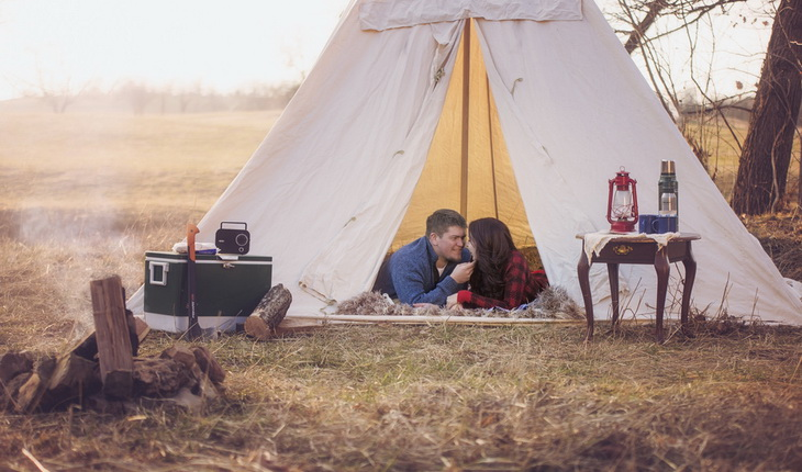 A couple camping in a a quiet piece of land