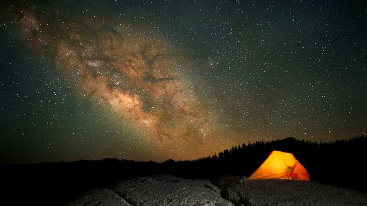A tent and the night sky