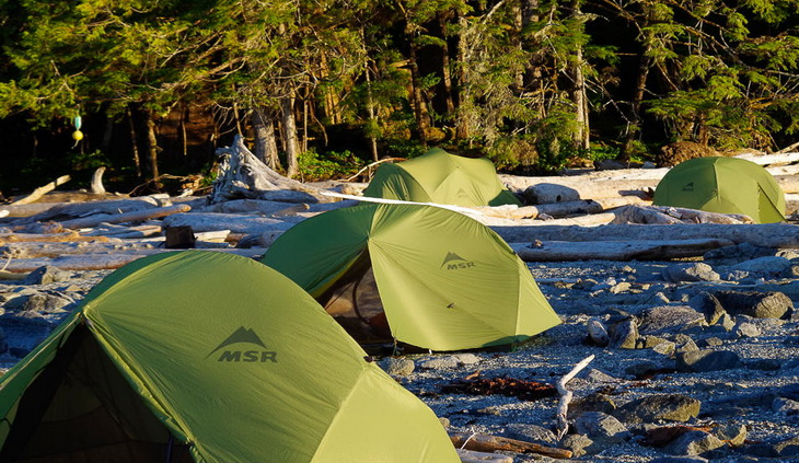 Beach camping in the Great Bear Rainforest