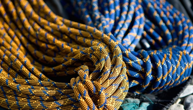 Colourful artistic image of two coils of climbing rope.